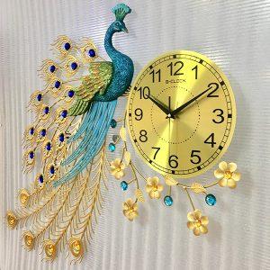 Đồng hồ con công trang trí tường dh011