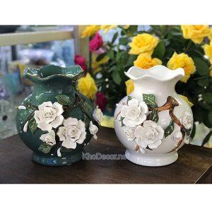 Bình hoa gốm sứ họa tiết nổi BH009