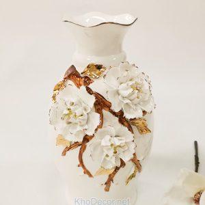 Bình hoa gốm sứ tráng men hoa văn nổi BH008