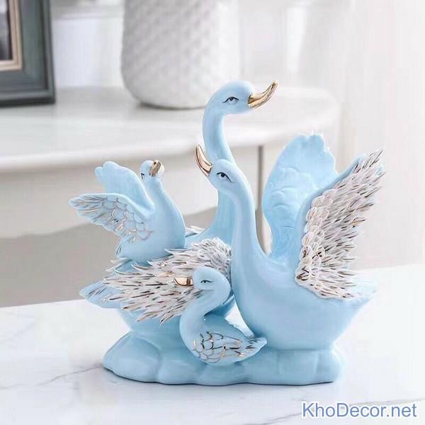 Cặp thiên nga sứ màu xanh TN015