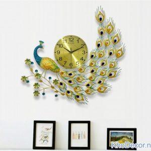Đồng hồ trang trí hình con công DH002