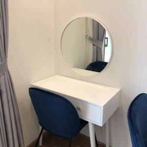 Gương tròn để bàn viền inox gt005