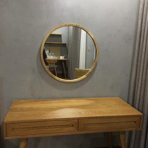 Gương tròn treo khung gỗ gt008