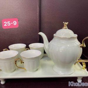 Ấm chén uống trà bằng sứ AC005